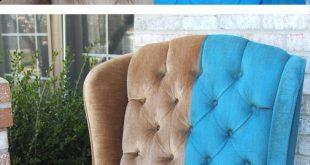 Paint Velvet Fabric - A Chair Makeover