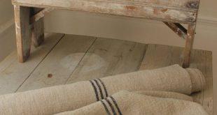 Grain sack Fabric Bolt Indigo Blue Stripes Antique homespun linen yardage hemp upholstery project pi