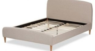 Mia Mid - Century Fabric Upholstered Platform Bed - Full - Light Beige - Baxton Studio