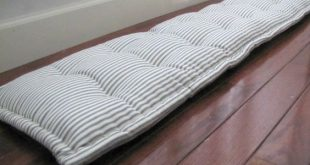 Bench Pad, Custom Bench Cushion, Ticking Stripe Window Seat Cushion, French Mattress Quilted Cushion. Tufted Cushions, Custom Sized Cushion