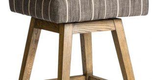 Counter stool Swivel Tribeca Weathered Oak Wood Modern Striped Gray Upholstery
