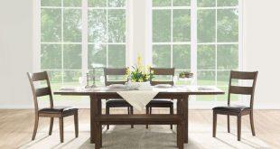 Rectangular Poplar Wood Dining Table with Extendable Leaf, Dark Oak Brown, Benzara