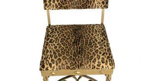 1920s Wrought Iron & Leopard Velvet Upholstery Chair