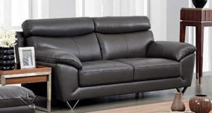 """8049 80493 86"""" Sofa with Piped Stitching Metal Legs Top Grain Leather and Eco-Leather Upholstery"""