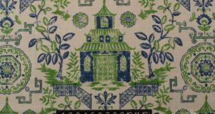 "Ballard designs pagoda green blue asian chinoiserie linen fabric by yard 54""w"