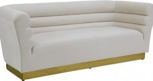 """Bellini 669CREAM-S 89"""" Sofa with Piped Stitching Gold Stainless Steel Base and Velvet Upholstery"""