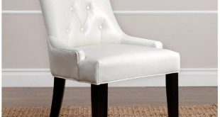Charlton Home Tindley Upholstered Dining Chair Upholstery Color: Ivory Leather