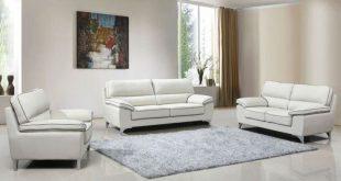 Hanari Modern Sofa Light Grey Leather