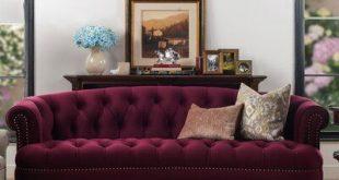 House of Hampton Mowry Chesterfield Sofa Upholstery Color: Burgundy
