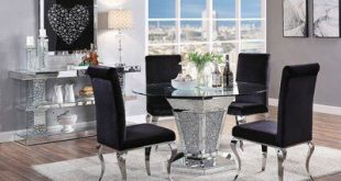 House of Hampton Rutledge Mirrored Pedestal Dining Table
