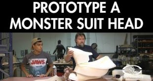 Learn how to assemble a Kaiju monster head prototype using paper patterns, razor...