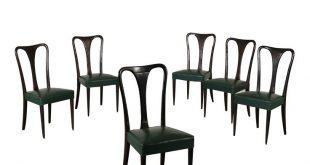 Sechs Stühle Kunstleder Vintage Italien 50er Jahre