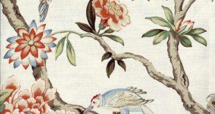 Waverly Mudan Persimmon Fabric